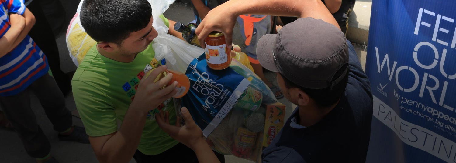 Penny Appeal's Feed Our World team provides food to the needy in Palestine