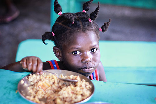 Central African child eating