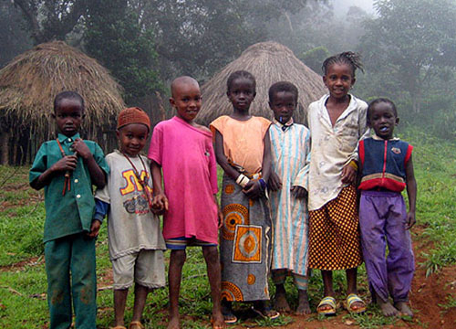 guinnea children in a village