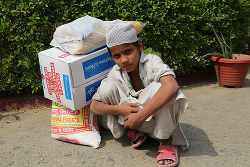 Indian Child with Food Packs