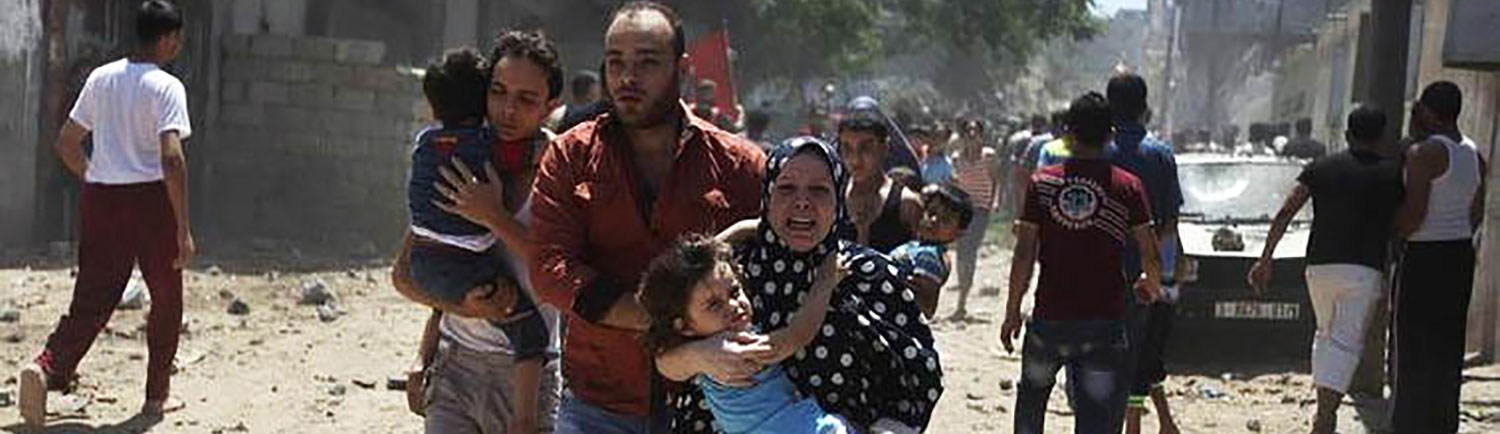 Families fleeing from Gaza.