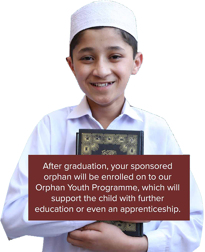 Hifz Orphan poses with the Qur'an. After graduation, your sponsored orphan will join our Orphan Youth Programme, which will support the child with further education