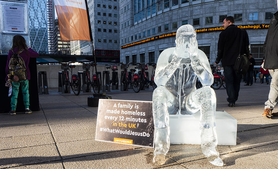 Homeless Ice Sculpture in Canary Wharf