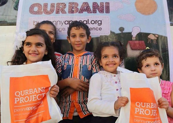 Children receiving Qurbani
