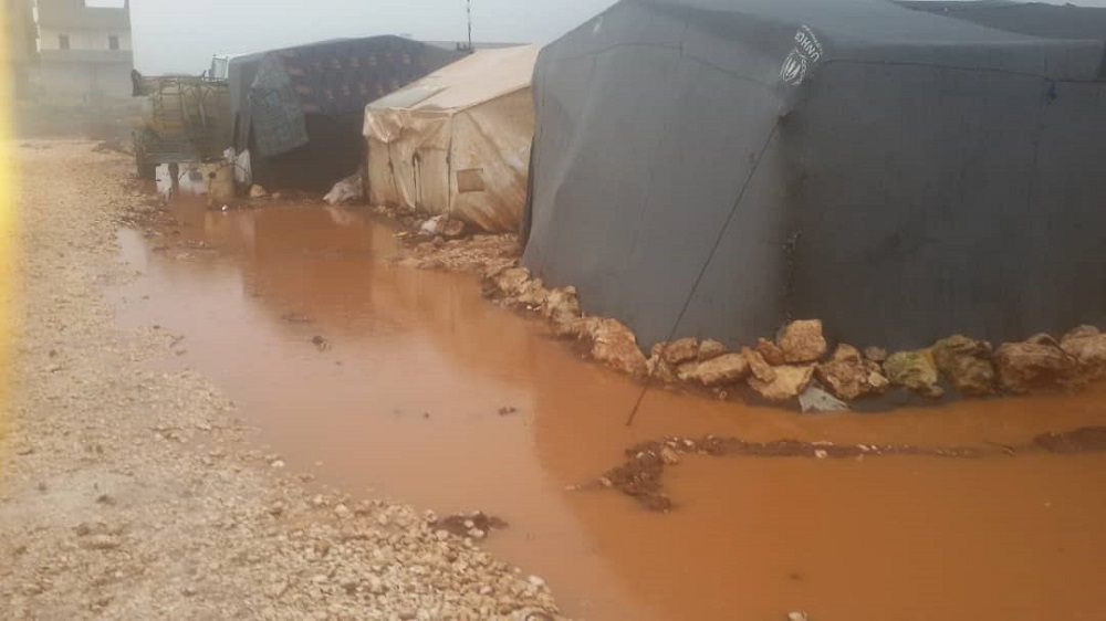 Flooded camps in Syria
